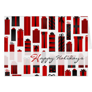 Cute Wrapped Presents Happy Holidays - Red Black Card