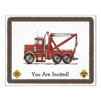 Cute Wrecker Truck Custom Invitations