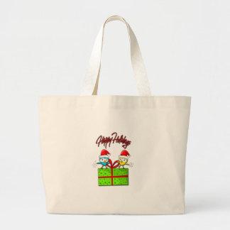 Cute Xmas birds Large Tote Bag
