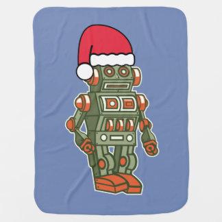 Cute Xmas Retro Robot Baby Blanket