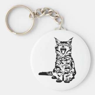 Cute yawing kitten keychain