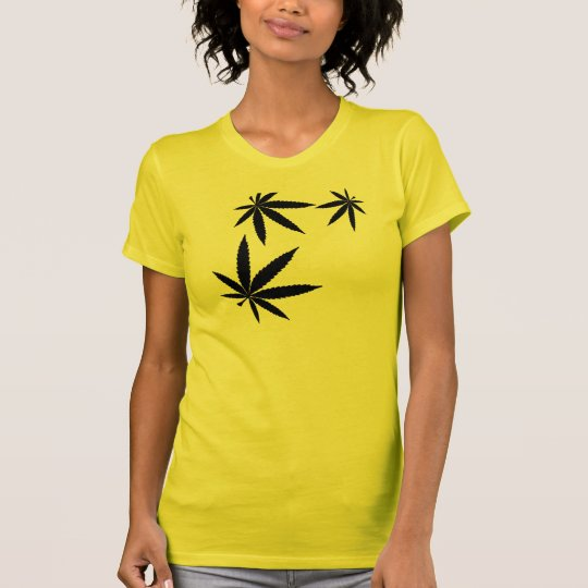 Cute yellow and black pot leaf shirt