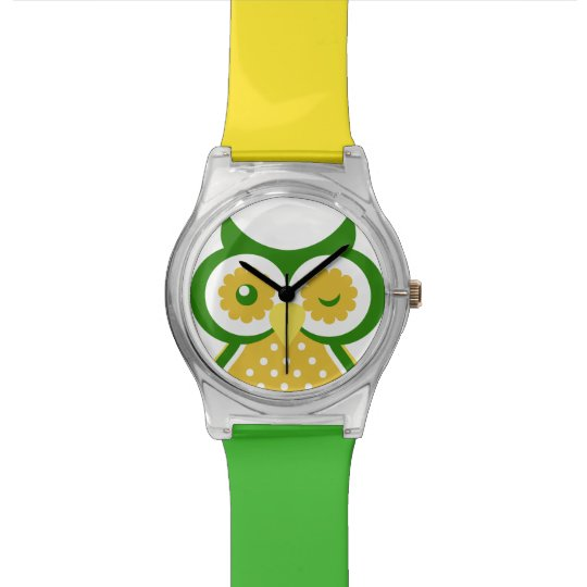 Cute Yellow And Green Owl Design Wrist Watches