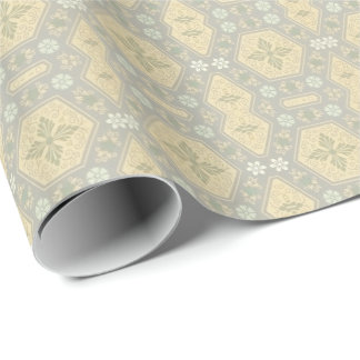 Cute Yellow and Grey Vintage Geometric Wrapping Paper