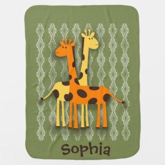 Cute Yellow and Orange Giraffe Baby Blanket
