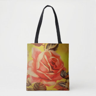 CUTE YELLOW AND RED ROSE TOTE BAG