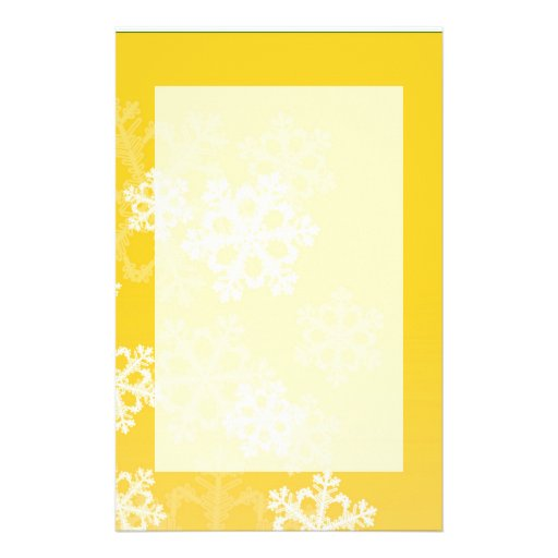 Cute yellow and white Christmas snowflakes Customized Stationery