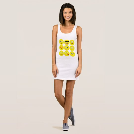 Cute Yellow And White Emojis Sleeveless Dress