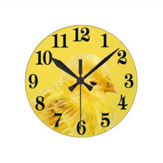 Cute yellow baby Chick Round Clock