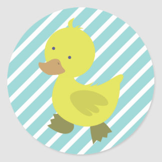 Cute Yellow Baby Duck with Blue Stripes Round Sticker