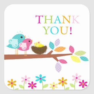 Cute Yellow Bird Nest Thank You Baby Shower Square Square Sticker