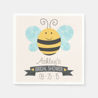 Cute Yellow & Black Bee Bridal Shower Disposable Napkins