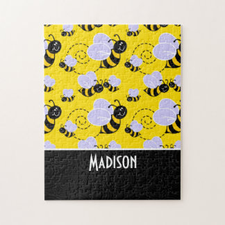Cute Yellow & Black Bee Jigsaw Puzzle