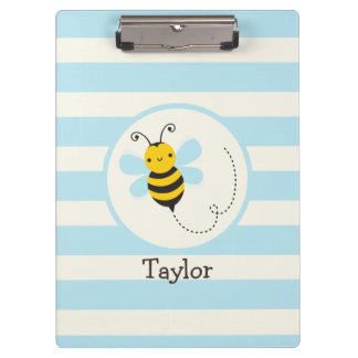 Cute Yellow & Black Bee on Baby Blue Stripes Clipboard