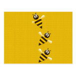 Cute Yellow Brown Abstract Honey Bees Pattern Postcard