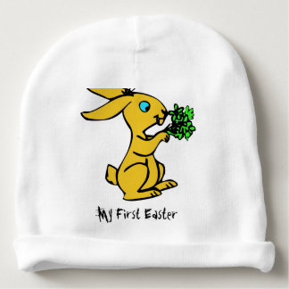 Cute Yellow Bunny for Lovely Happy Easter Baby Beanie