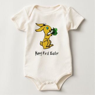 Cute Yellow Bunny for Lovely Happy Easter Baby Bodysuit