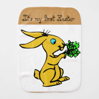 Cute Yellow Bunny for Lovely Happy Easter Burp Cloth
