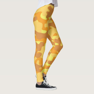 Cute Yellow Camouflage Leggings