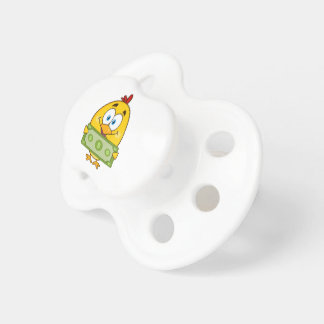 cute yellow chick cartoon character holding cash pacifier
