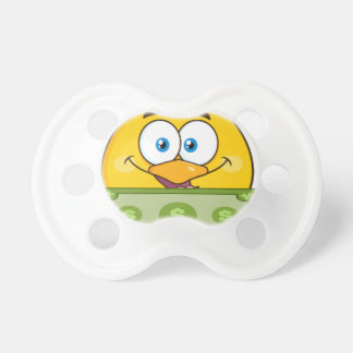 cute yellow chick cartoon character holding cash pacifiers