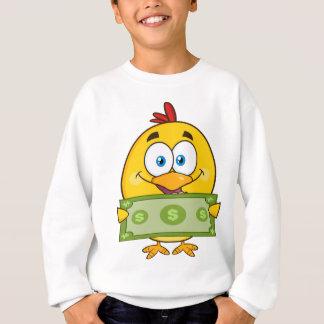 cute yellow chick cartoon character holding cash sweatshirt