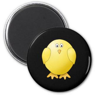 Cute Yellow Chick. Little Bird on Black. 2 Inch Round Magnet
