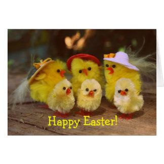 Cute Yellow Chickens Happy Easter Greeting Card