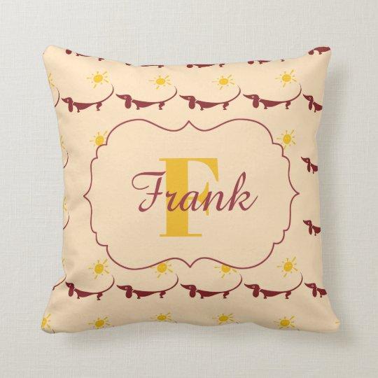 Cute Yellow Dachshund Monogram Name Throw Pillow