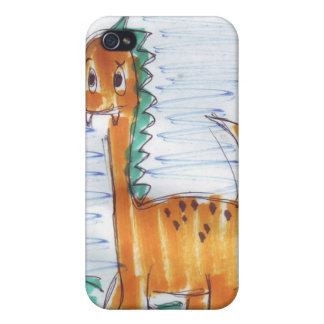 Cute Yellow Dinosaur Sketch iPhone 4 Case