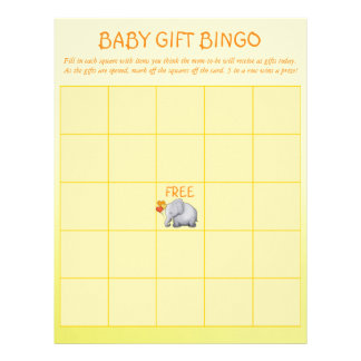 Cute Yellow Elephant Baby Shower Baby Bingo Game C Letterhead