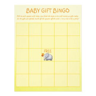 Cute Yellow Elephant Baby Shower Baby Bingo Game C Letterhead