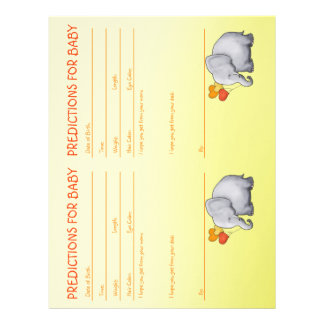Cute Yellow Elephant Baby Shower Predictions Letterhead