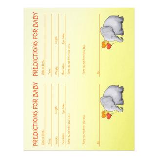 Cute Yellow Elephant Baby Shower Predictions Letterhead