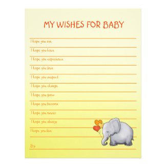 Cute Yellow Elephant Baby Shower Wishes for Baby Letterhead