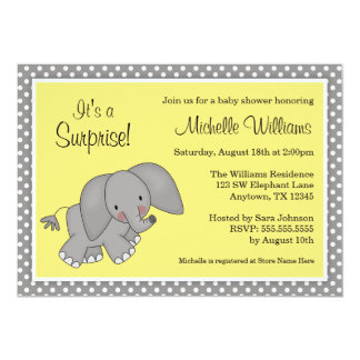 "Cute Yellow Elephant Gender Neutral Baby Shower 5"" X 7"" Invitation Card"