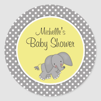 Cute Yellow Elephant Gender Neutral Baby Shower Round Sticker