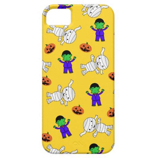 Cute yellow Frankenstein mummy pumpkins iPhone 5 Case