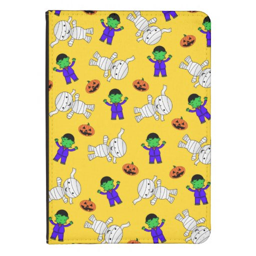 Cute yellow Frankenstein mummy pumpkins Kindle 4 Cover