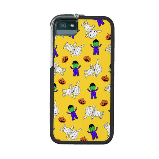 Cute yellow Frankenstein mummy pumpkins Cover For iPhone 5