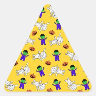 Cute yellow Frankenstein mummy pumpkins Triangle Sticker