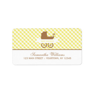 Cute Yellow Gingham Pattern and Baby Carriage