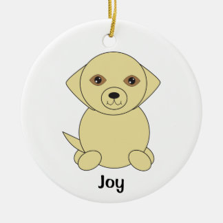 Cute Yellow Golden Retriever Dog Personalize Ceramic Ornament