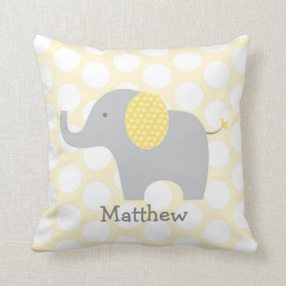 Cute Yellow & Grey Elephant Personalized Pillow