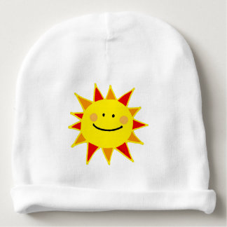 cute yellow happy sun cartoon baby beanie