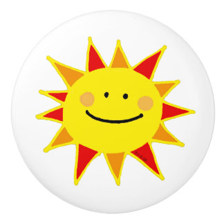 cute yellow happy sun cartoon ceramic knob