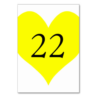 Cute Yellow Heart Numbered Card