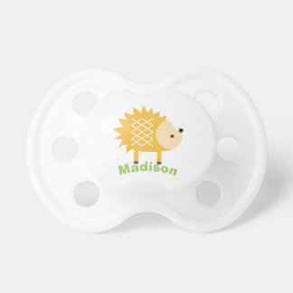 Cute Yellow Hedgehog Personalized Baby Pacifier