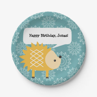 Cute Yellow Hedgehog Personalized Party Plates