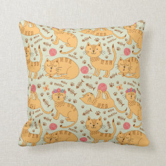 Cute Yellow Kittens Pink Yarn Throw Pillow
